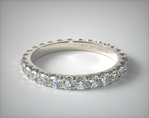 14K White Gold Ladies 1.00CTW.* Angled Common Prong Diamond Eternity Ring