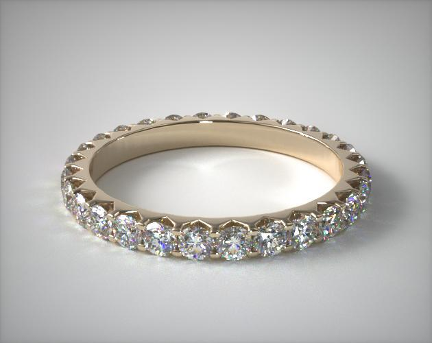 18K Yellow Gold Ladies 1.00ctw* Angled Common Prong Diamond Eternity Ring