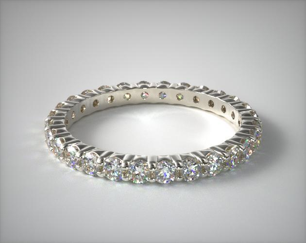 14K White Gold Ladies 0.75CTW.* Contoured Common Prong Diamond Eternity Ring