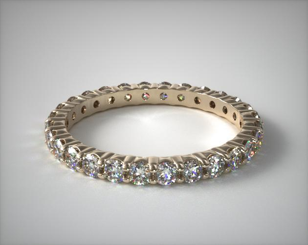 18K Yellow Gold Ladies 1.00CTW.* Contoured Common Prong Diamond Eternity Ring