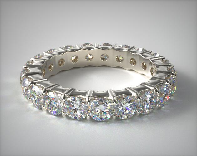 14K White Gold Ladies 2.00CTW.* Contoured Common Prong Diamond Eternity Ring