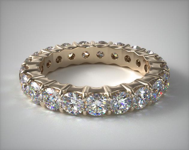 18K Yellow Gold Ladies 2.00CTW.* Contoured Common Prong Diamond Eternity Ring