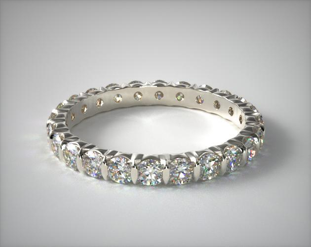 18K White Gold Ladies 1.00CTW.* Bar Set Diamond Eternity Ring