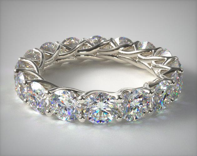 Ladies 5ct Trellis Diamond Eternity Ring 18k White Gold