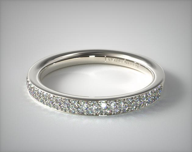 Wedding Rings Womens Diamond 18k White Gold Double Row Pave Ring 36 Ct Tw Item 60482