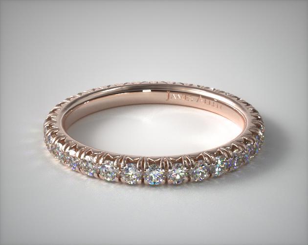 14K Rose Gold Pave' Set Diamond Eternity Ring (.75 CTW.)
