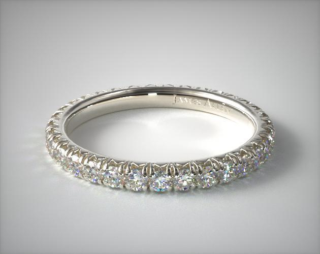 14K White Gold Pave' Set Diamond Eternity Ring (.75 CTW.)