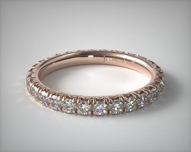 14K Rose Gold Pave' Set Diamond Eternity Ring (1.00 CTW.)