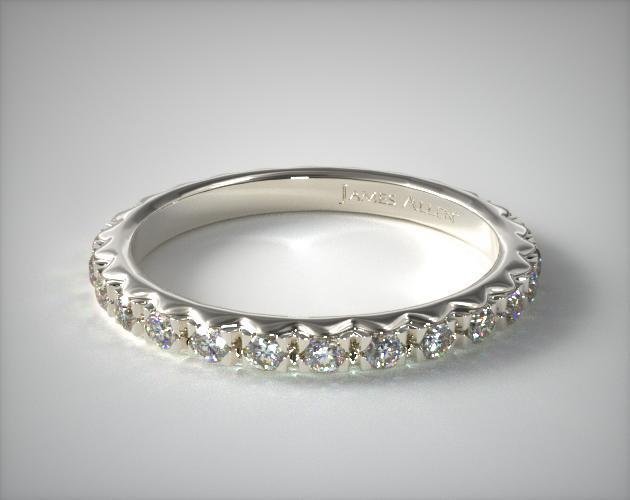 14K White Gold French-Cut Pave Diamond Eternity Ring (.56 CT TW.)
