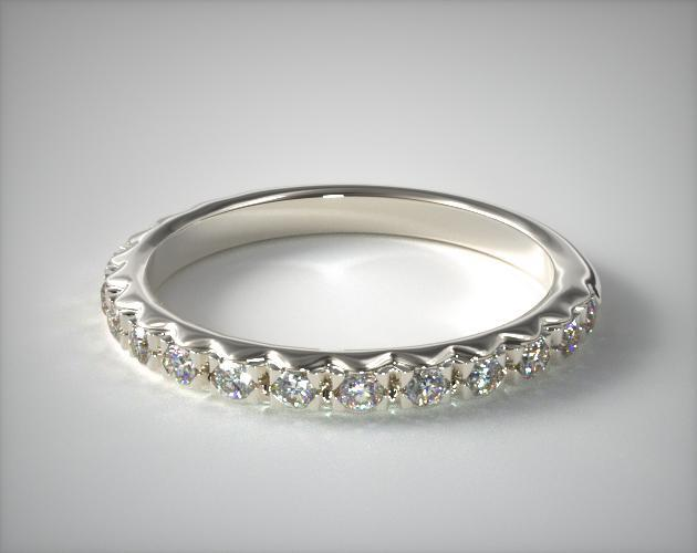 0 34ct Rounded French Cut Pave Diamond Wedding Ring 14k White Gold 14015w14