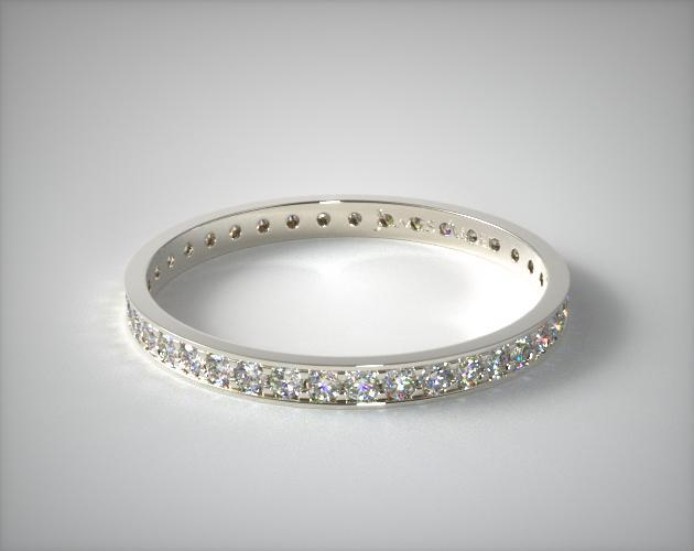 14K White Gold Pave Diamond Eternity Ring