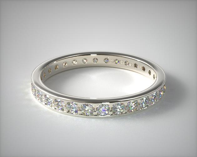 14K White Gold Pave Diamond Eternity Band (.61 CTW.)