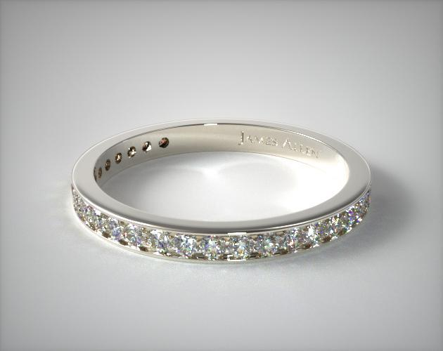 14K White Gold 0.20CTW. Pave Diamond Wedding Ring