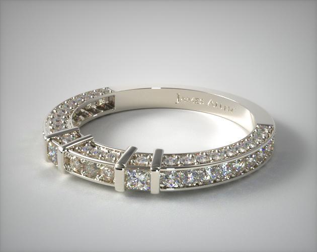 18K White Gold 0.93ct Bar Set and Pave Diamond Wedding Ring