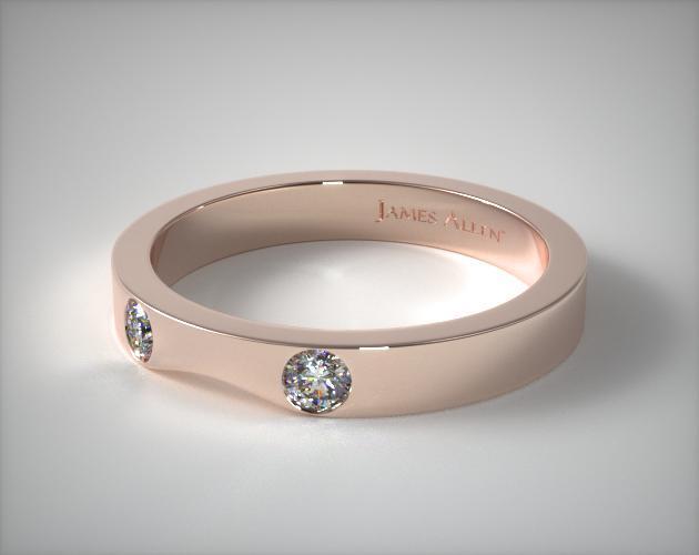 14K Rose Gold 0.06ct Slightly Curved Round Brilliant Diamond Wedding Ring