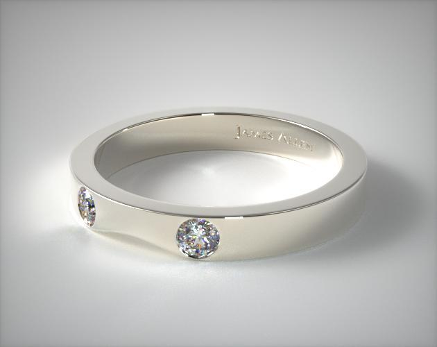 Platinum 0.06ct Slightly Curved Round Brilliant Diamond Wedding Ring