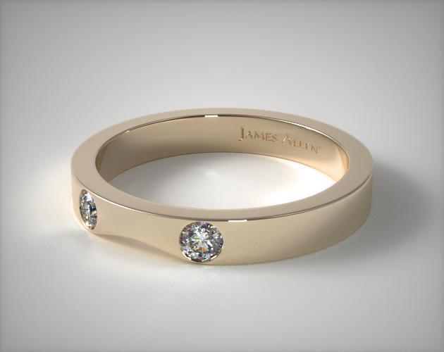 18K Yellow Gold 0.06ct Slightly Curved Round Brilliant Diamond Wedding Ring