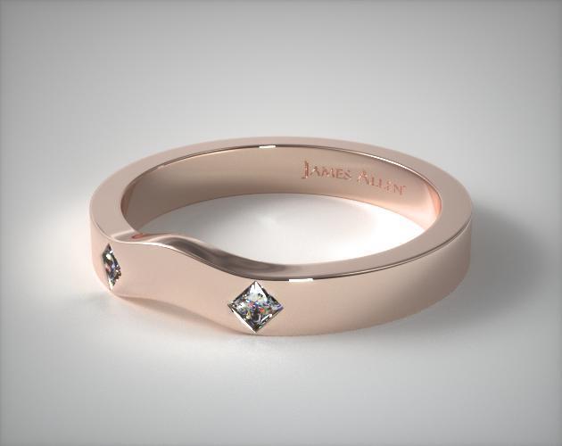 14K Rose Gold 0.06ct Slightly Curved Princess Shaped Diamond Wedding Ring