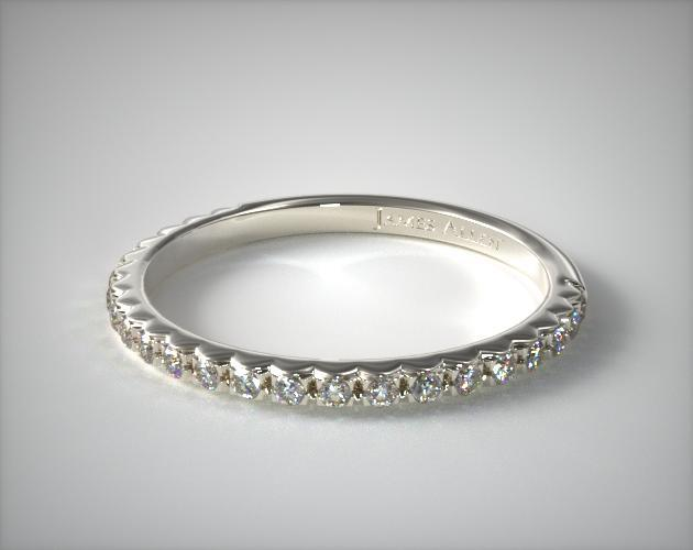 14K White Gold French Cut Pave Diamond Wedding Ring