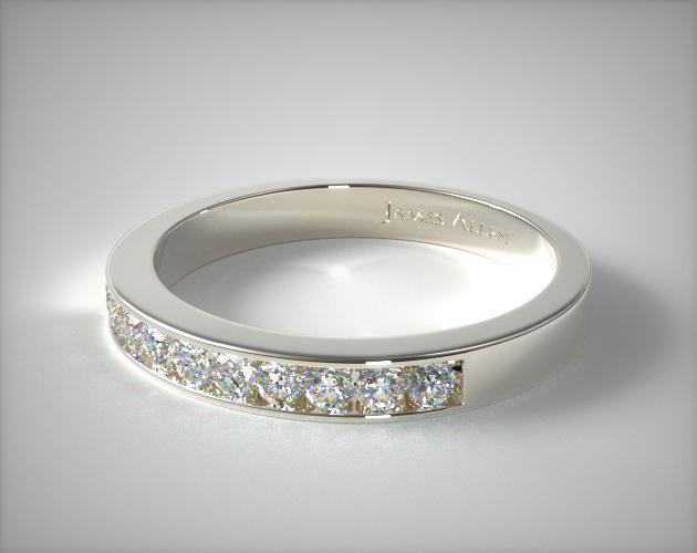 14K White Gold 0.16ct Channel Set Diamond Wedding Ring