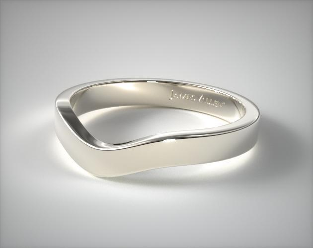 Platinum Gold 2.7mm Curved Women's Wedding Band