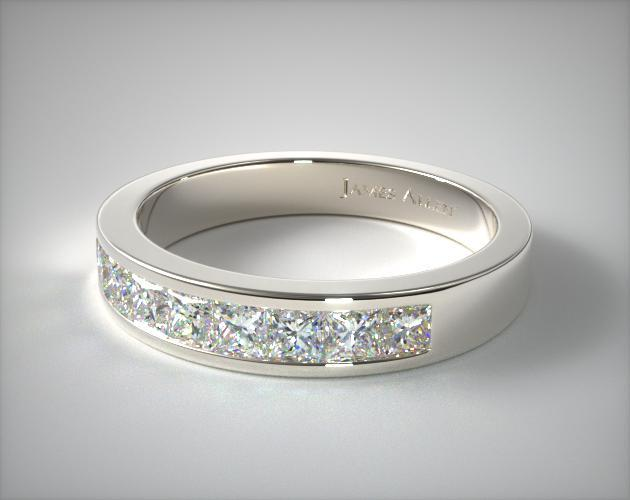 14K White Gold 0.54ct Channel Set Diamond Wedding Ring