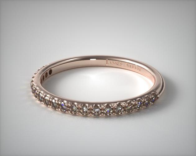 14K Rose Gold 0.15CTW. Thin Pave Set Diamond Wedding Ring