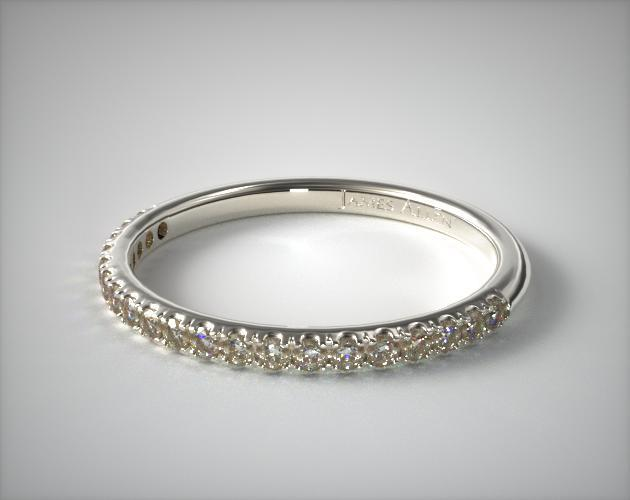 14K White Gold 0.15CTW. Thin Pave Set Diamond Wedding Ring