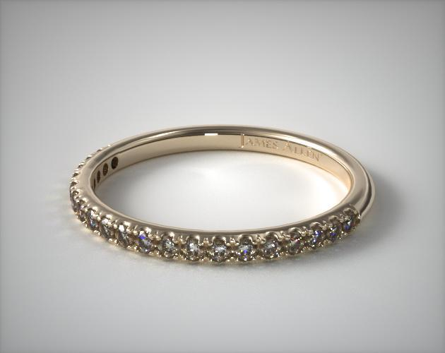 14K Yellow Gold Thin Pave Set Diamond Wedding Ring