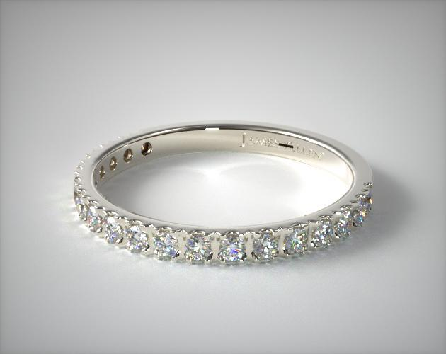 14K White Gold Art-Nouveau Pave Set Diamond Wedding Ring (.27 CTW.)