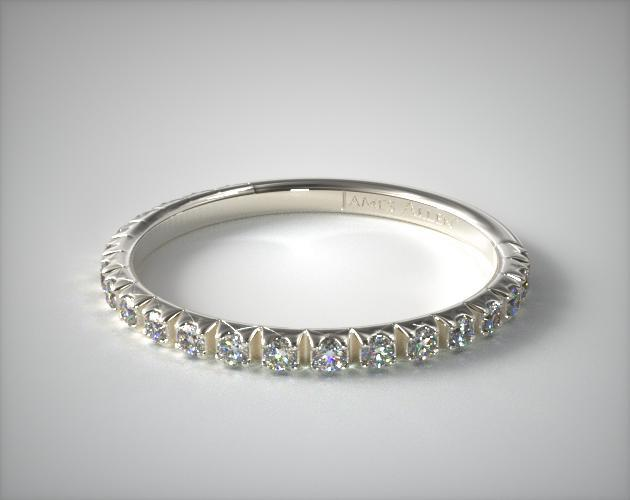 18K White Gold Thin French-Cut Pave Set Diamond Wedding Ring (.20 CTW.)