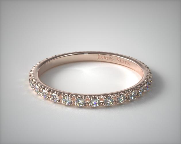 14K Rose Gold Thin French-Cut Pave Set Diamond Eternity Wedding Ring