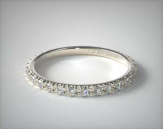 14208w14 Thin French Cut Pave Set Diamond Eternity Wedding Ring 14k White Gold