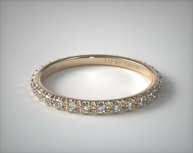 18K Yellow Gold Thin French-Cut Pave Set Diamond Eternity Wedding Ring