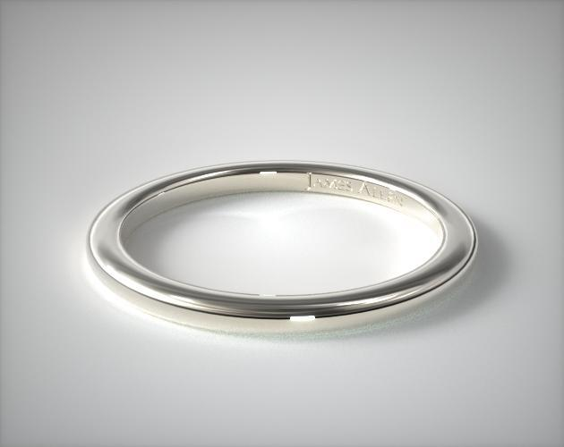 Platinum Slightly Rounded Wedding Ring