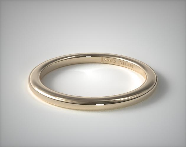 18K Yellow Gold Slightly Rounded Wedding Ring