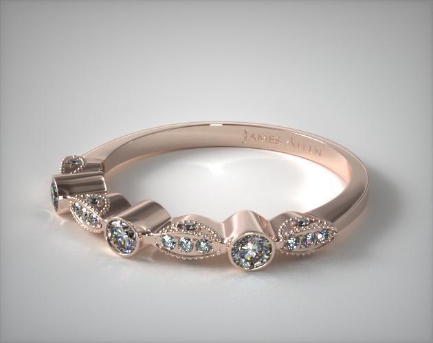 14K Rose Gold Bezel and Pave Set Diamond Wedding Ring