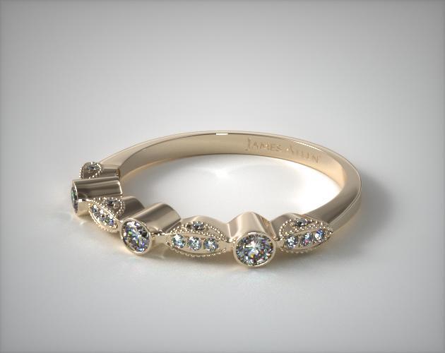 18K Yellow Gold Bezel and Pave Set Diamond Wedding Ring