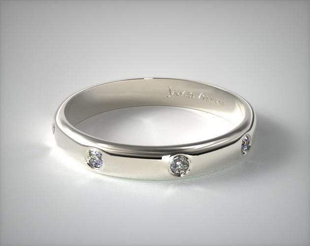 18K White Gold 3mm Bezel Set Diamond Wedding Ring