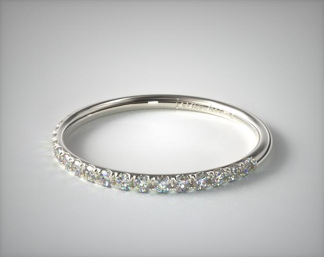 14K White Gold 1.5mm, 21 Stone, 0.14ctw Matching Pave Wedding Band