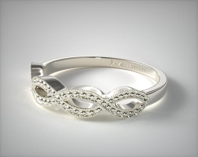 Infinity Wedding Band.14k White Gold Vintage Infinity Wedding Band