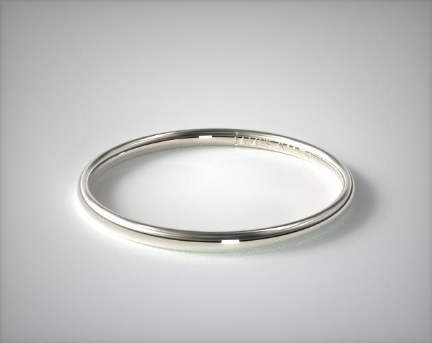 14K White Gold Round Wedding Band