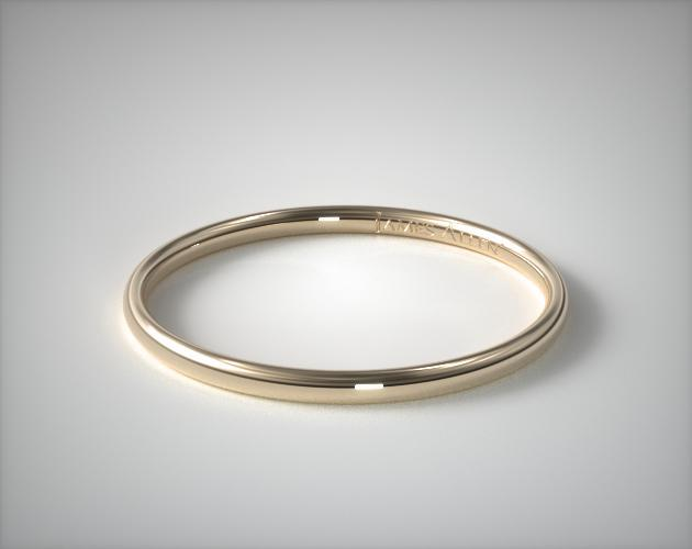 18K Yellow Gold Round Wedding Band