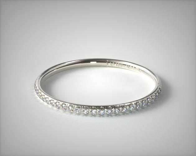 Platinum U Pave Rounded Wedding Ring (.16 CTW.)