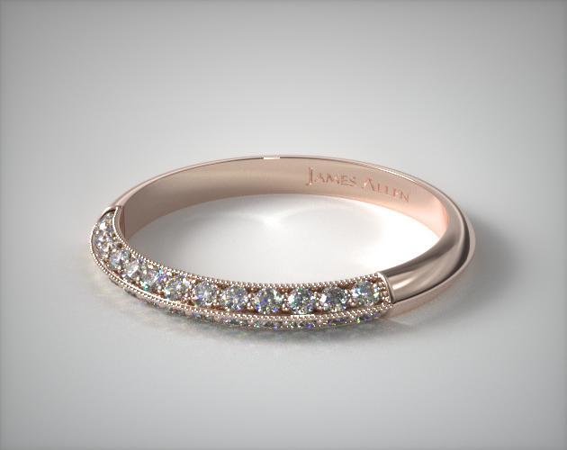 14K Rose Gold Pave Knife Edge Cathedral Diamond Wedding Ring