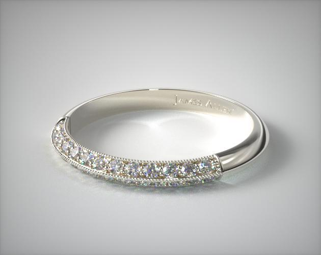 14K White Gold Pave Knife Edge Cathedral Diamond Wedding Ring