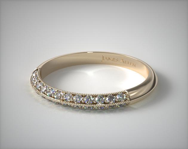 18K Yellow Gold Pavé Knife Edge Cathedral Diamond Wedding Ring