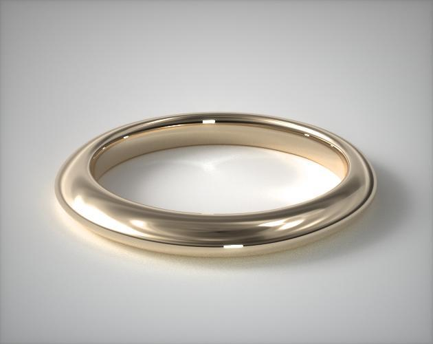 14K Yellow Gold Rolled Wedding Band