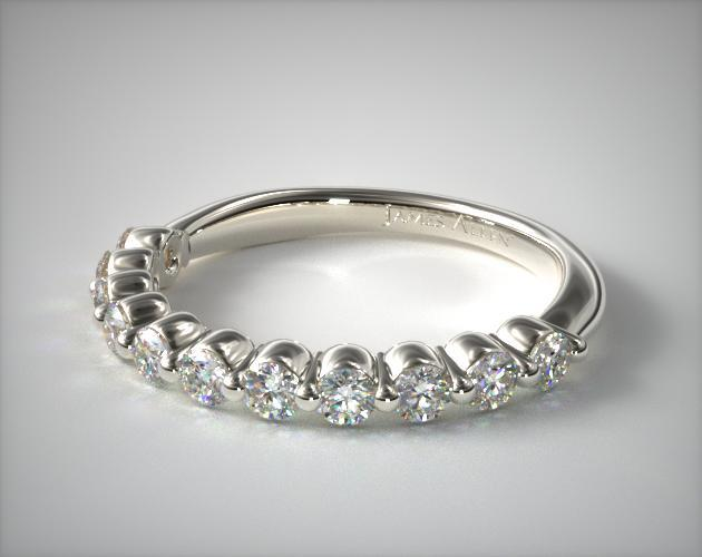 aa32355d8e0aa 14K White Gold Round Diamond Bubble Wedding Ring
