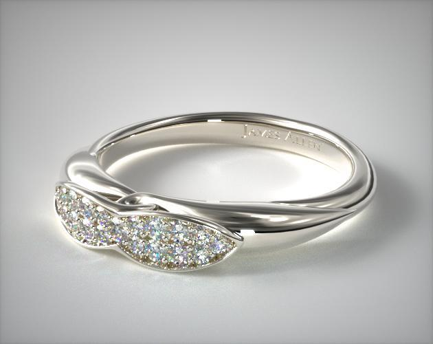 18K White Gold Pave Love Knot Wedding Ring